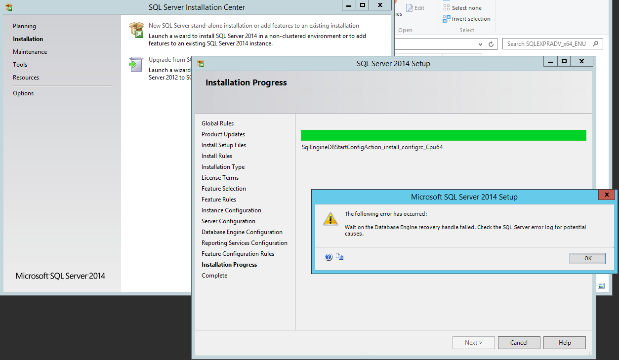 Microsoft SQL Server Installation Problem - V5 Question