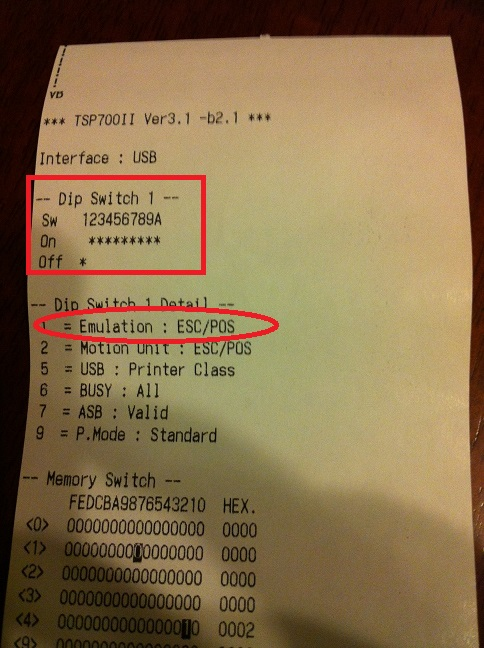 Lines appearing on Receipt (Start TSP 700 II / STAR TSP100